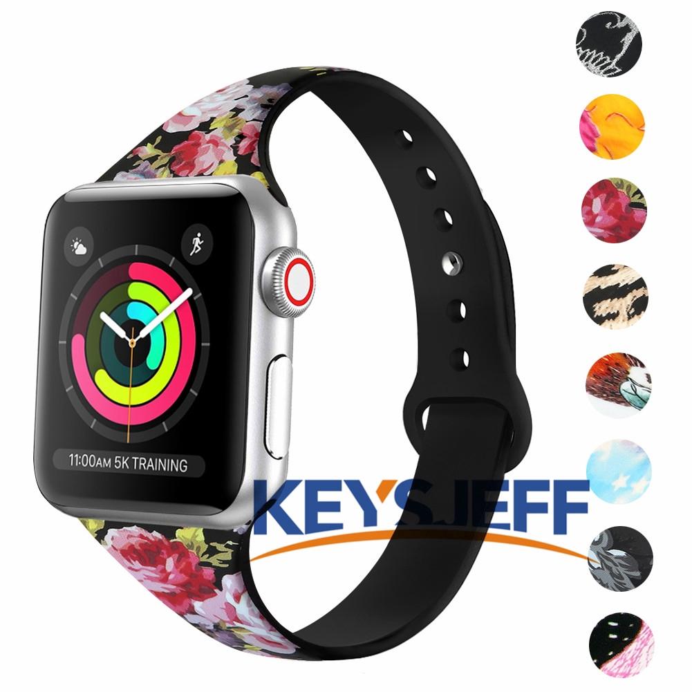 สายรัดบางเข้ากันได้กับ Apple Watch Band 38 / 40mm 42 / 44mm Fadeless ลวดลายวงดนตรีที่พิมพ์สำหรับ iWatch Band Series 5/4/3 81022