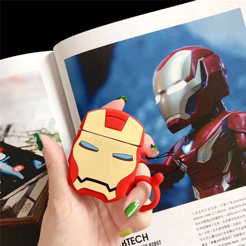 HAZ AirPods case Apple Wireless Bluetooth Headphone Case Cartoon Marvel AirPods Pro case Apple AirPods 1/2 Generation Iron Man Drop-proof Silicone Headphone Case