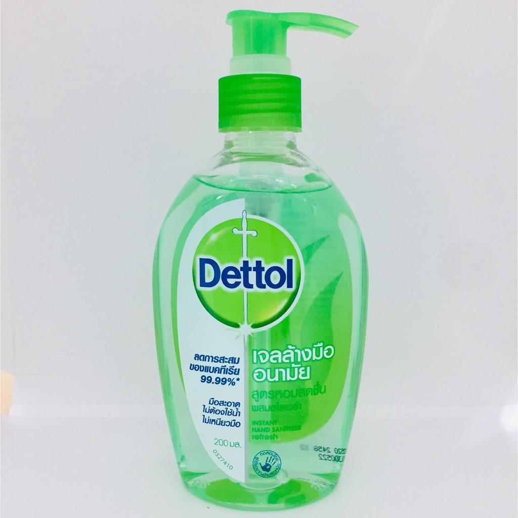 เจลล้างมือ เดทตอล  เจลล้างมืออนามัย รีเฟรช สูตรหอมสดชื่น ผสม อโลเวร่า ขนาด 200 มล. [ Dettol Hand Sanitizer Refresh 200 m