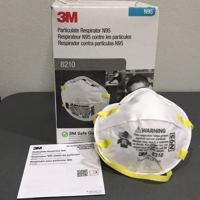 หน้ากาก 3M ของแท้ (1 ชิ้น) รุ่น 8210 N95 ป้องกันฝุ่น PM2.5 [หน้ากาก 3M 8210 N95]