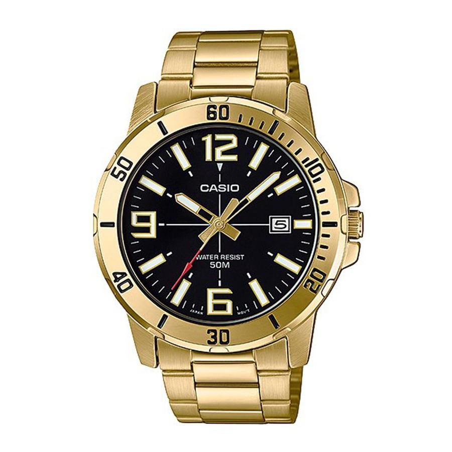 Casio Standard นาฬิกาข้อมือผู้ชาย สายสแตนเลส รุ่น MTP-VD01G,MTP-VD01G-1B - สีทอง