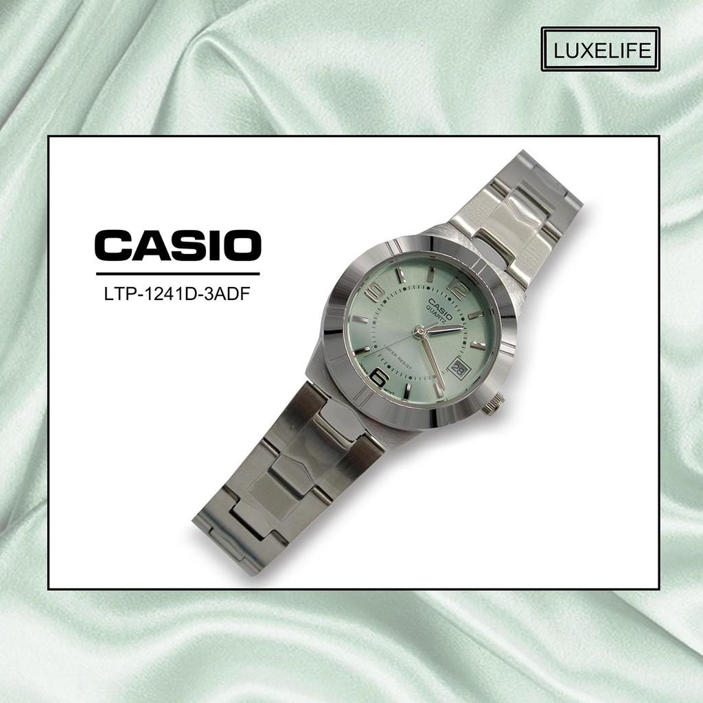 Casio นาฬิกาข้อมือผู้หญิง สายสแตนเลส รุ่น LTP-1241D-3ADF