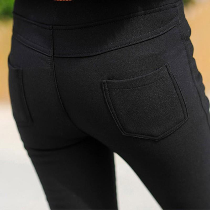 Women Winter Thick Thermal Warm Fleece Jeans High Waist Trousers Slim Pants