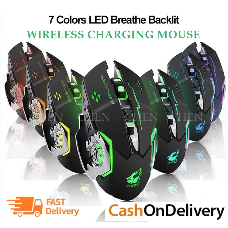 X70 7 LED 2.4GHz Wireless USB Optical Gaming Mouse Mice Backlit Rechargeable