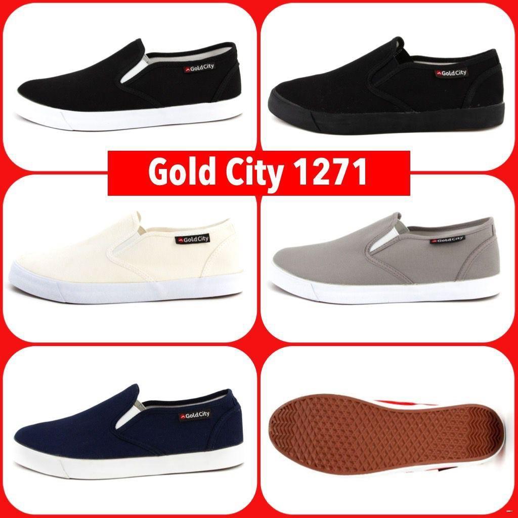 ยางยืดออกกําลังกาย✧Gold city 1271 รองเท้าผ้าใบสวมโกลด์ซิตี้ สีดำ/ครีม/เทา/กรม/ดำดำ(ดำล้วน) ทรงสลิปออน slip on Goldcity