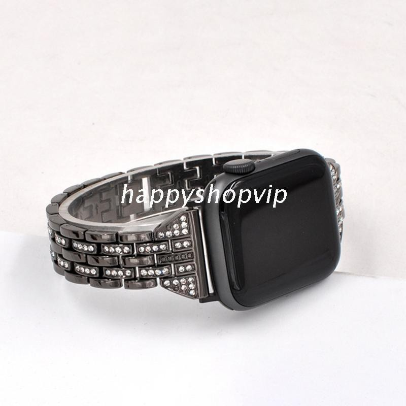 Hsv สายนาฬิกาข้อมือโลหะผสมประดับเพชรสองแถวสําหรับ Applewatch
