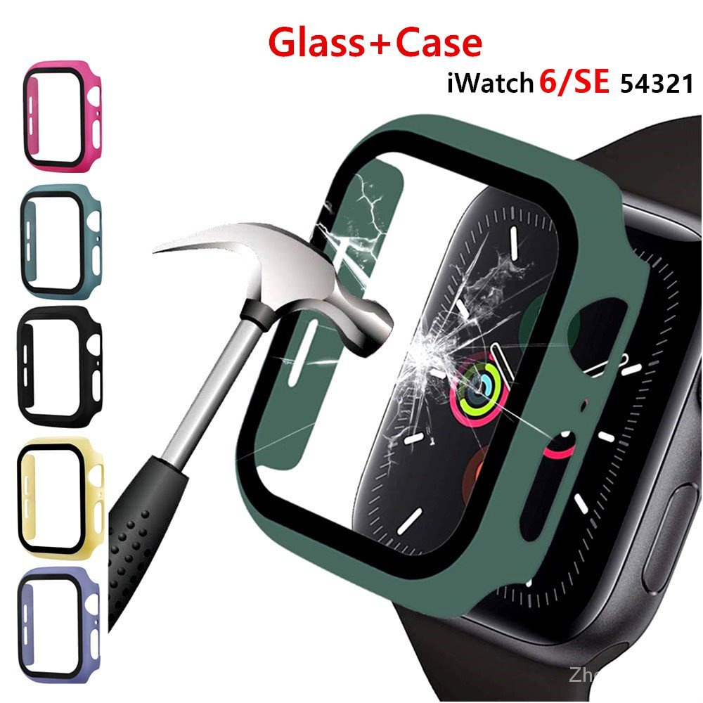 【24H SHIPS】For apple watch 6 SE 5 4 3 2 1 case 44mm 40mm 38mm 42mm Built-in Tempered Glass screen protector for iwatch full coverage Protective shell cases