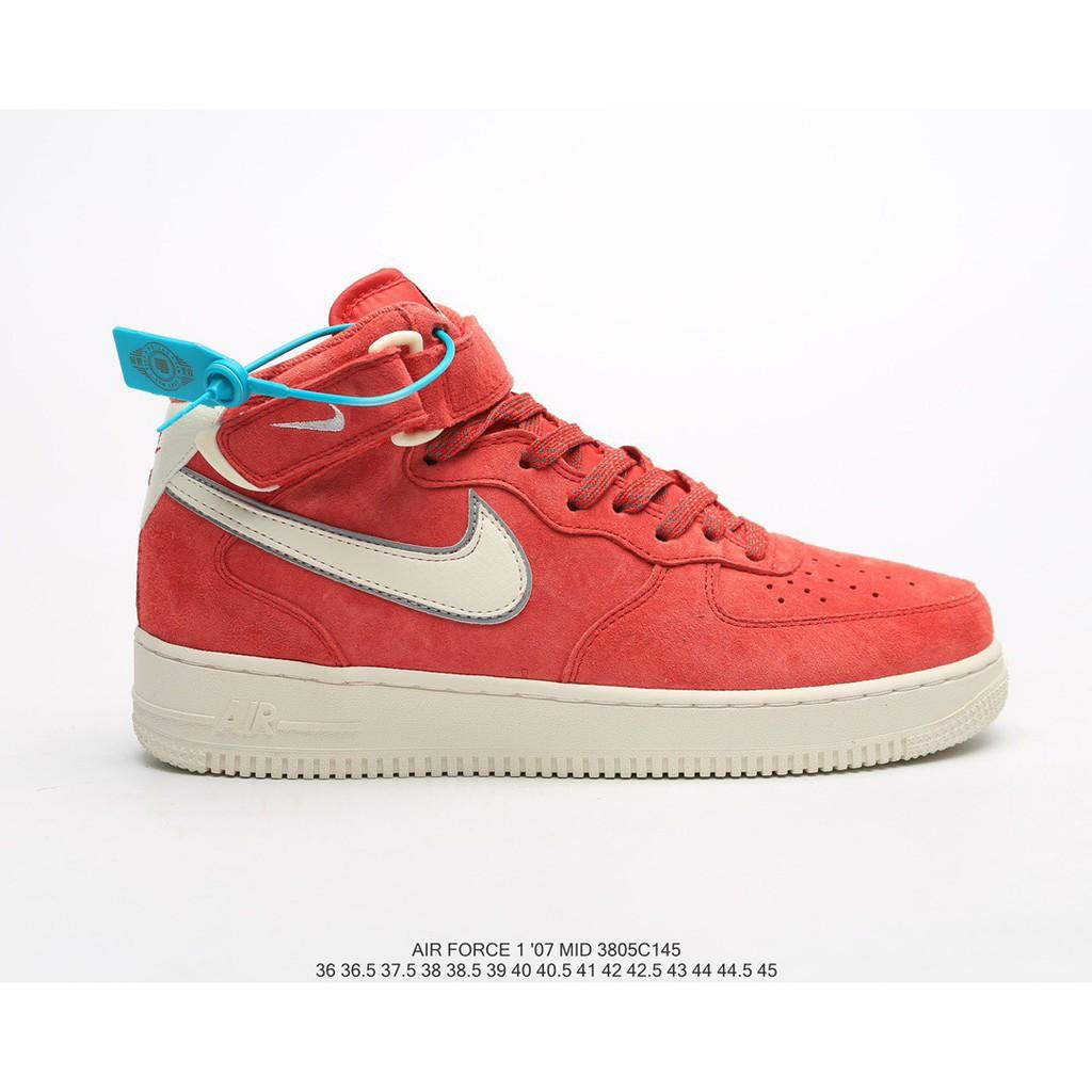 【jiaye】 Nike Nike Air Force 1 Mid '07 3M สะท้อนแสง Air Force One รองเท้าผ้าใบลำลองกลางหลัง