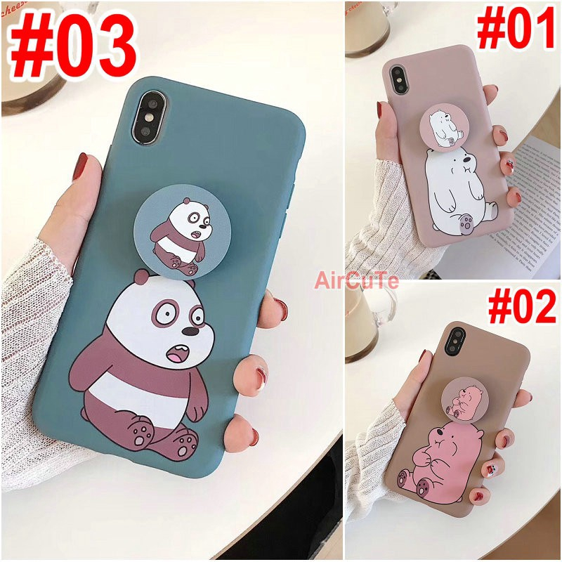 เคส Samsung M11 A11 A71 A51 A70 A50 A30 A20 A10 A50s A30s A9 A7 A6 J8 J7 J6 J5 J4 J2 Plus Pro Prime 2018 Cartoon Sit up Bear Soft case Cover+Stand