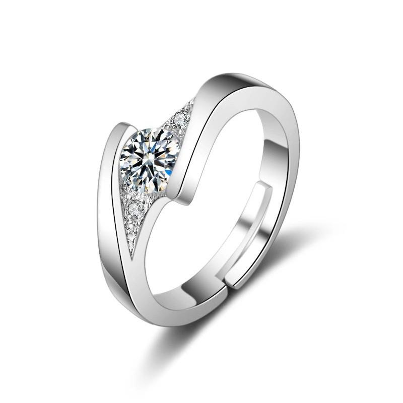 ✻พร้อมส่งสินค้าอยู่ไทย*ราคา 2วง แหวนเพชรเม็ด2วงทองคำขาว  แหวนคู่ A50-3(2วง)