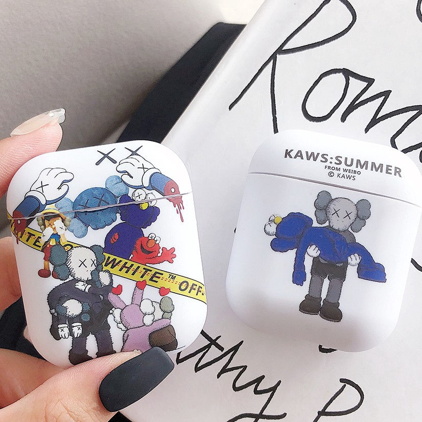Luminous Airpods Case Kaws Summer Off White Seeing Cartoon Bluetooth Earphone Protective Cover Waterproof Shockproof