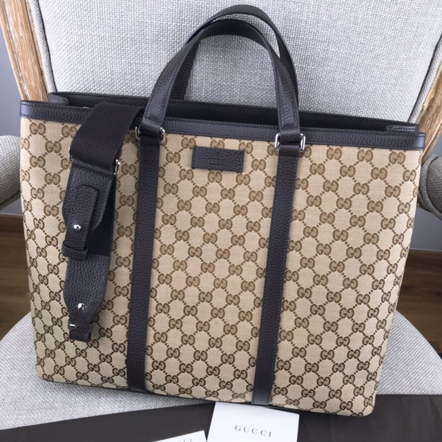 03d73cce6ec ... กระเป๋า GUCCI Beige Canvas GG Guccissima Borsa Donna Large Tote Bag ...