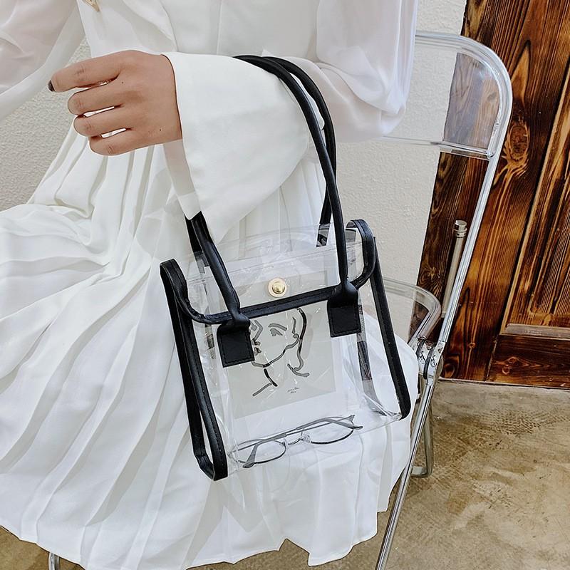 เคสโทรศัพท์❈﹍กระเป๋าใบเล็กหญิงฤดูร้อนปี 2021 สินค้าใหม่พร้อมกระเป๋าหนังใสเย็บกระเป๋าถือวันหยุดเดินทางกระเป๋าชายหาด
