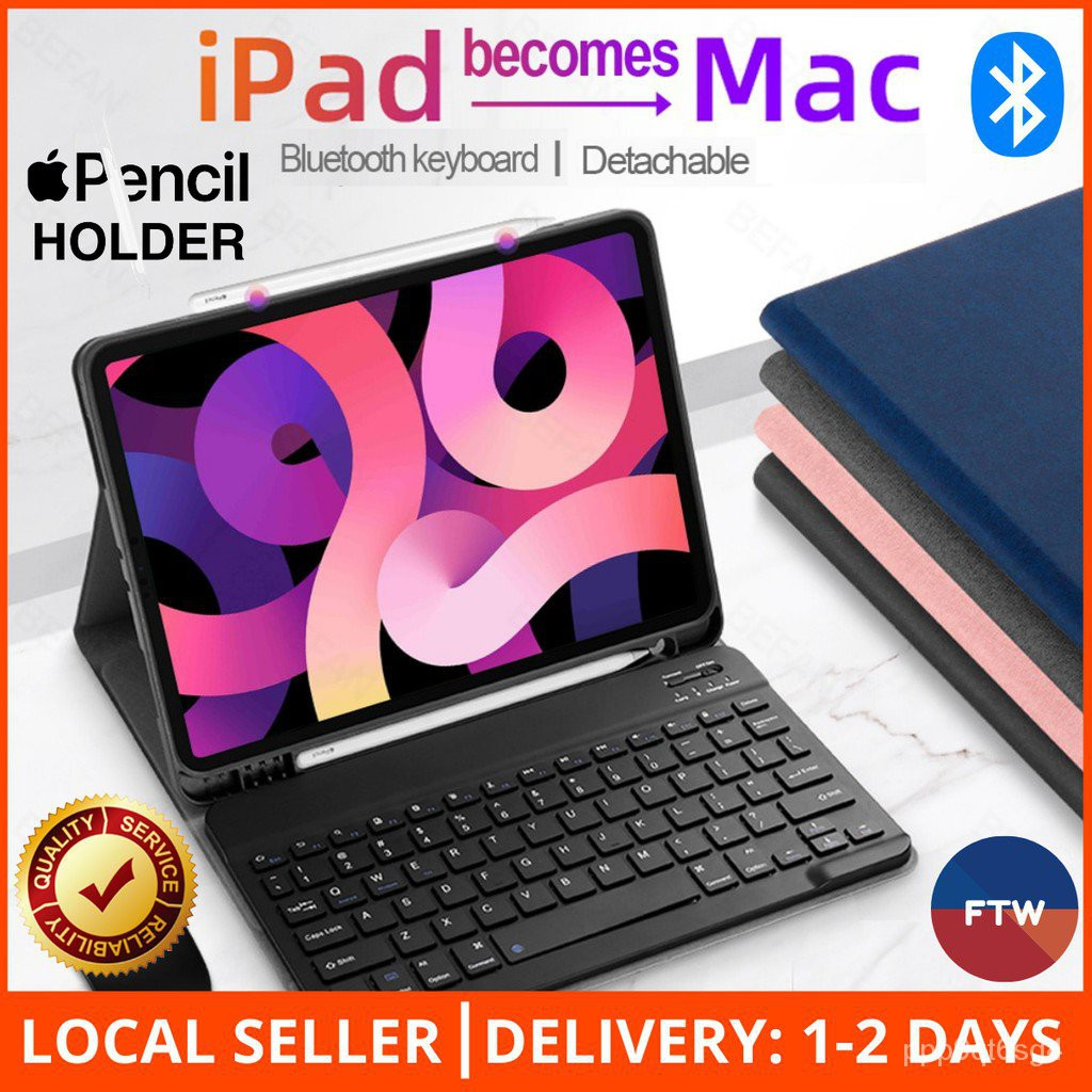 [1-2 DAY SG DELIVERY!] iPad Keyboard Folio Case With Apple Pencil Holder iPad Air 4 10.9 8 Gen 10.2 Pro 11 12.9 Trackpad