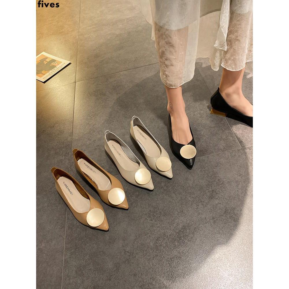 รองเท้าคัชชูหัวแหลมผู้หญิงทุกคู่แฟชั่นเกาหลีปากตื้นส้นหนารองเท้ามืออาชีพ