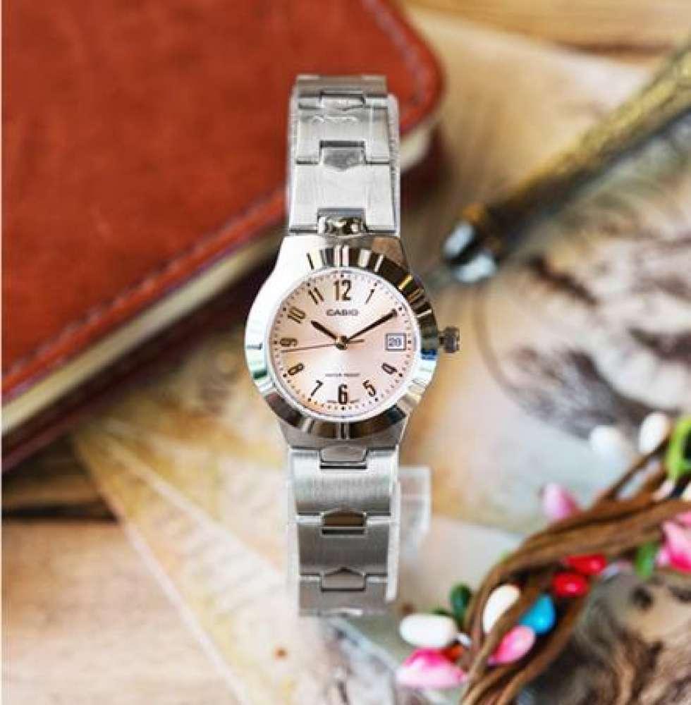 Win Watch shop Casio  รุ่น LTP-1241D-4A3 นาฬิกาข้อมือผู้หญิง สายสแตนเลส หน้าปัดชมพูโอโรส - มั่นใจ ของแท้ 100% ประกันศูนย