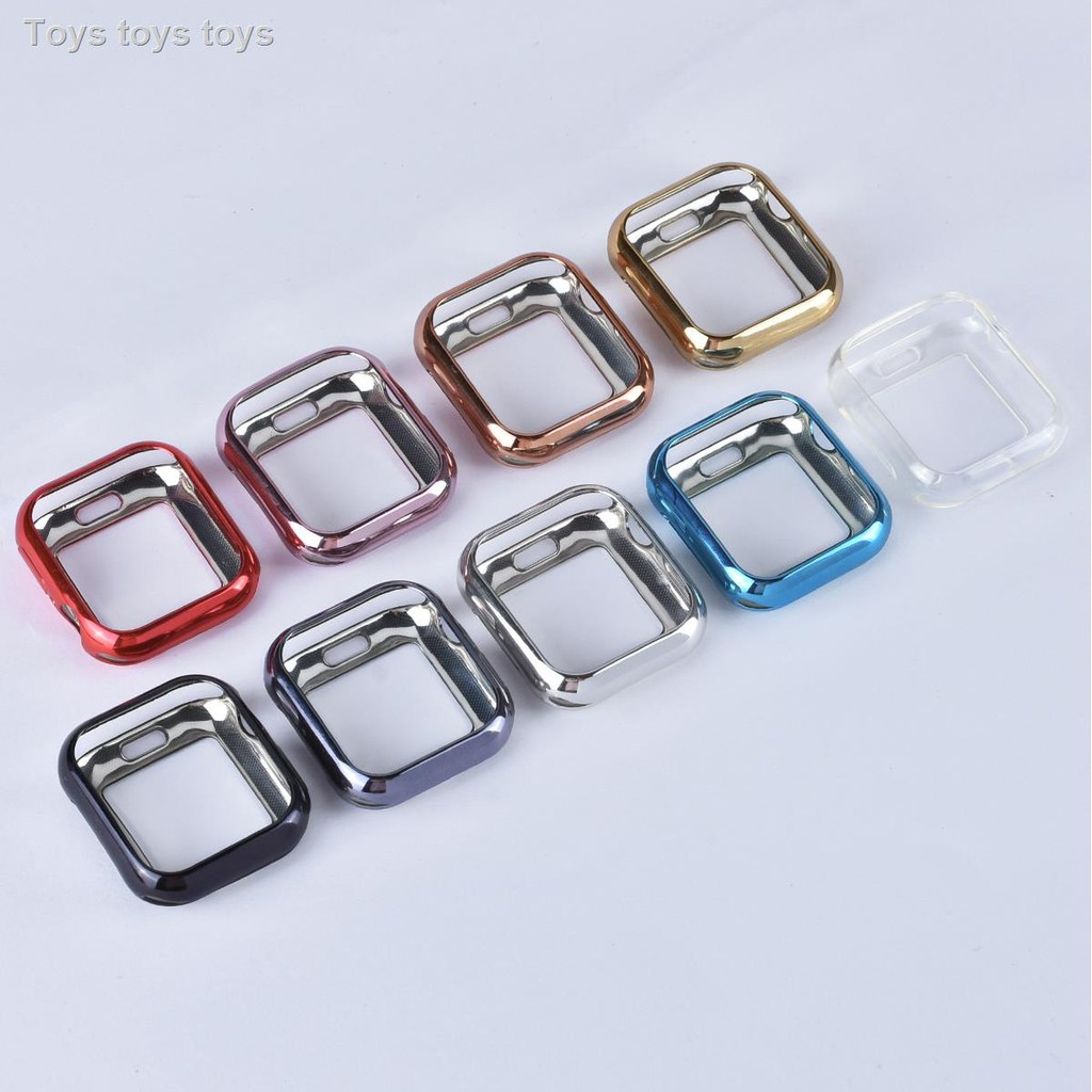 Fashion tpu caseซิลิโคนครอบใสฮาร์ด caseAir podsApple watch case iwatch5 6 SE 4/3/2/1 generation electroplating transparent TPU soft shell applewatch series5 ultra-thin 44/42/40/38mm