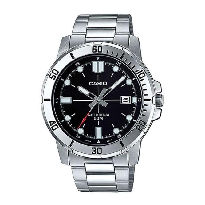 จัดส่งฟรีCasio Standard นาฬิกาข้อมือผู้ชาย สายสแตนเลส รุ่น MTP-VD01D,MTP-VD01D-1E,MTP-VD01D-1EV - สีเงิน