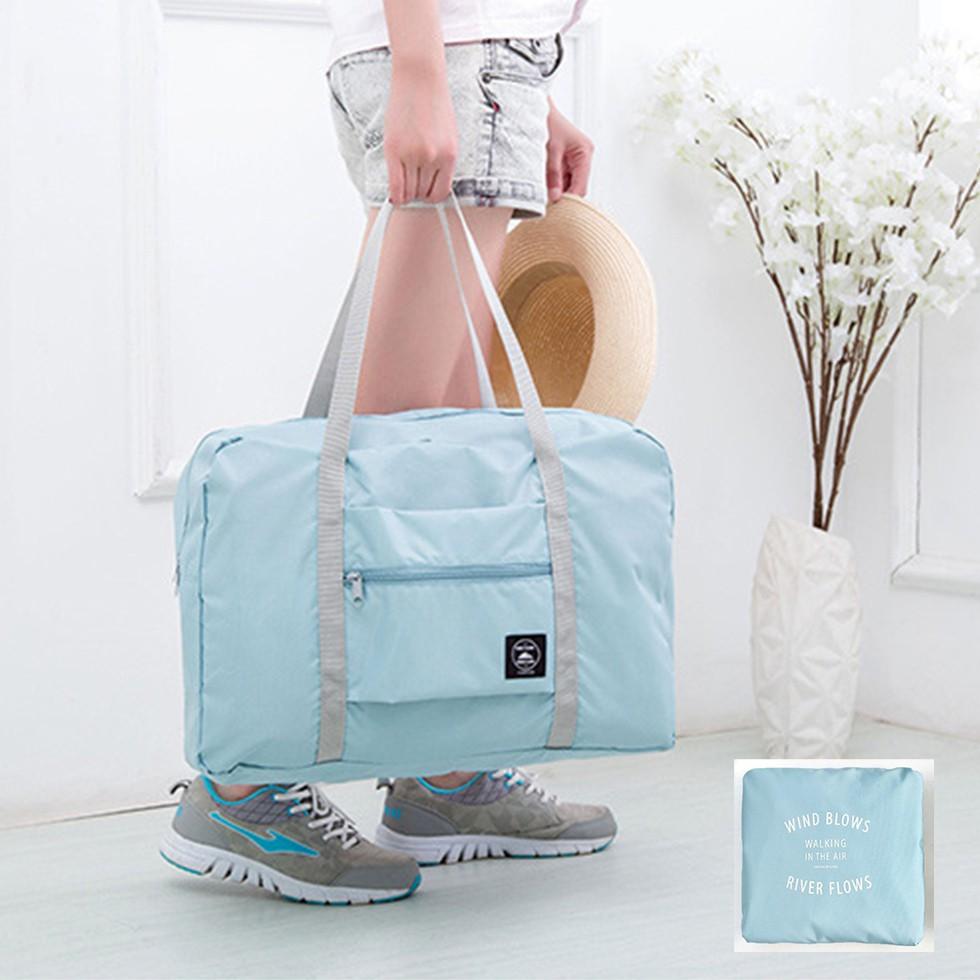 กระเป๋าเดินทางแบบพับเก็บได้ พิเศษ! ติดกับกระเป๋าเดินทางล้อลากได้ สีเขียวหม่น