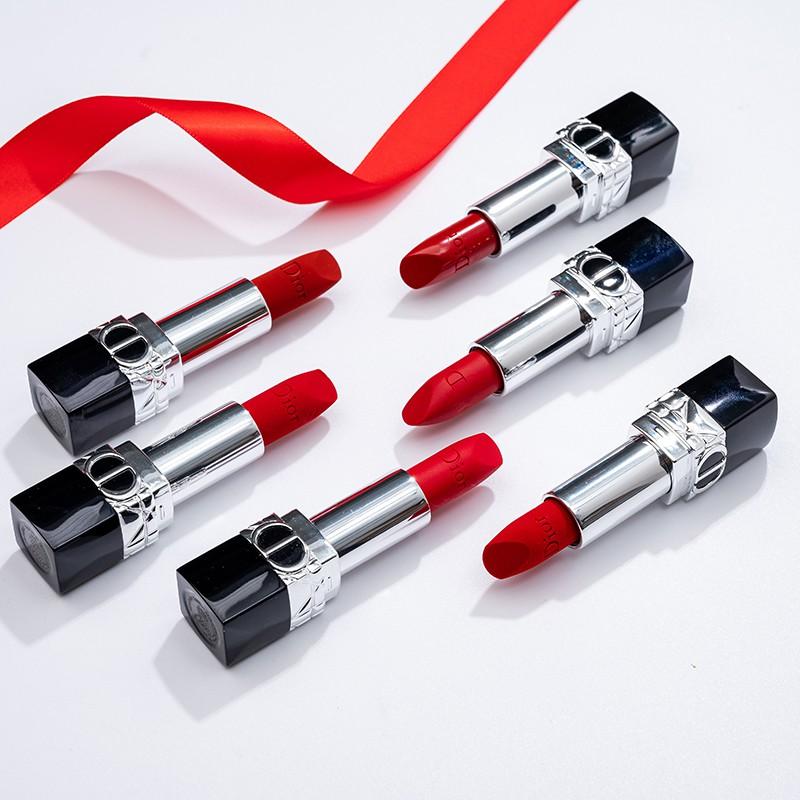 ✁☜❂[ผลิตภัณฑ์ใหม่] Dior/Dior Lipstick New Matte 999 Moisturizing 888 Velvet 772/840 Lipstick Genuine Gift Box [ดง840 】