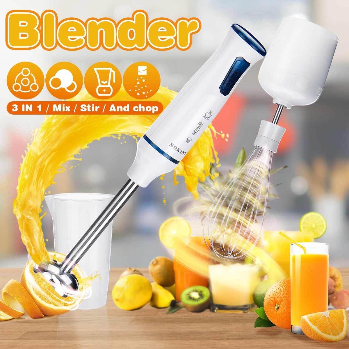 Sokany 3 IN 1 Electric Hand Blenders Mixture Egg Blenders Home Kitchen Mixer Baby Food Grinder Stick Vegetable Nut Fruit