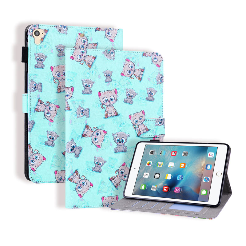 iPad 5 6 7 8 9 9.7inch Flip Case iPad Air 2 with Apple Pencil Holder Leather Cartoon Card Slots Wallet Stand Cover