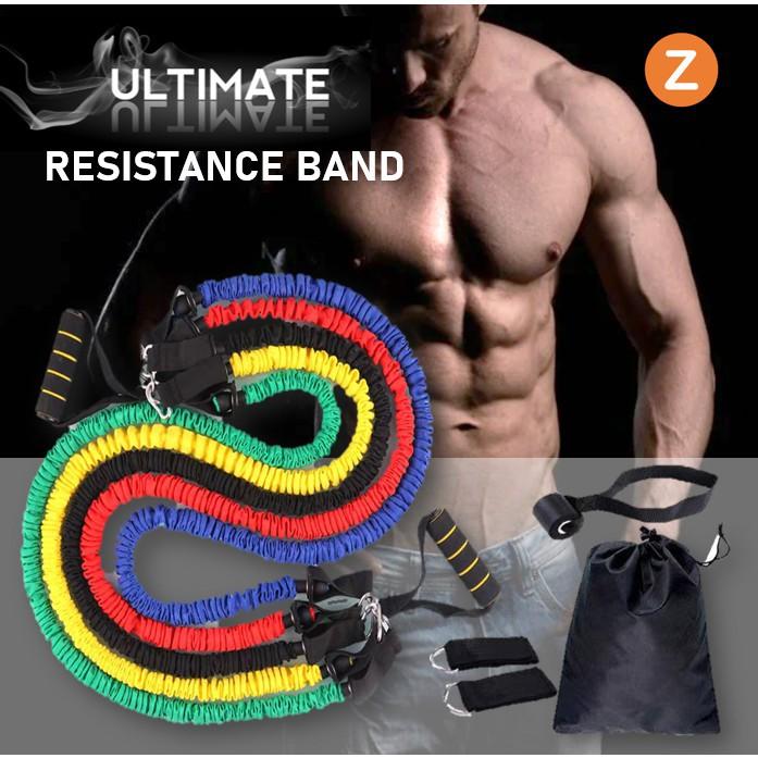 ☃▩Zanlaza ยางยืดออกกำลังกาย หุ้มไนลอน แรงต้าน5ระดับ (Ultimate Set) Resistance Band Nylon Latex Tube ยางยืดหูจับ สายแรงต้