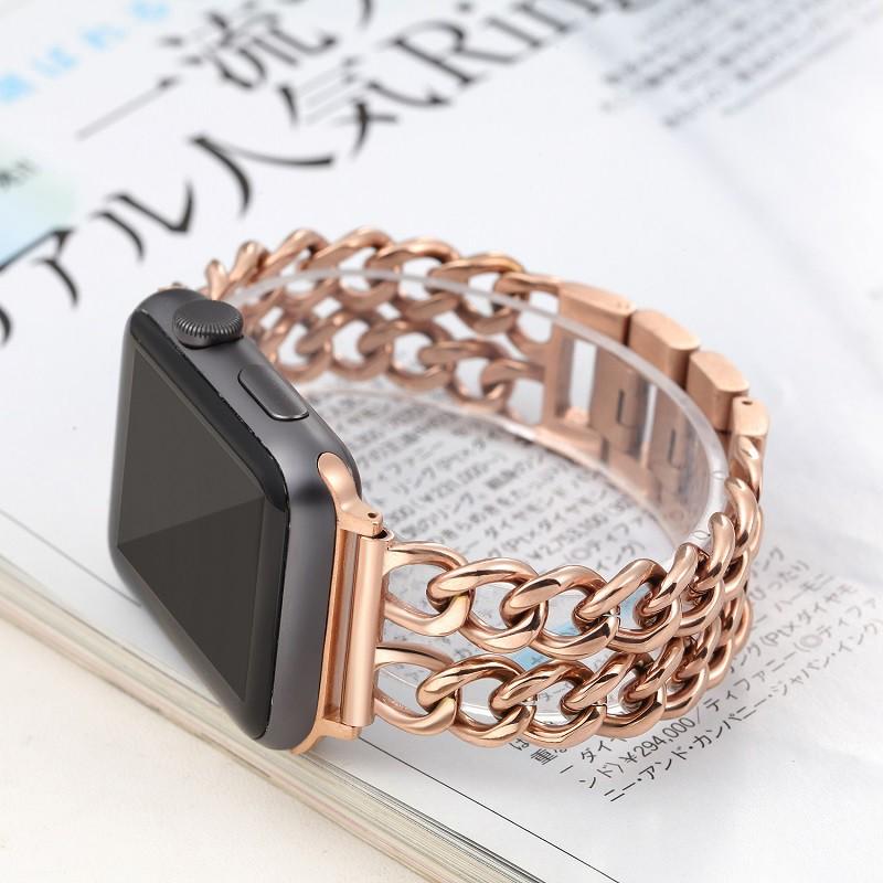 Luxury Chain สายนาฬิกา Apple Watch Straps เหล็กกล้าไร้สนิม สาย Applewatch Series 6 5 4 3 2,  Apple Watch SE Stainless St