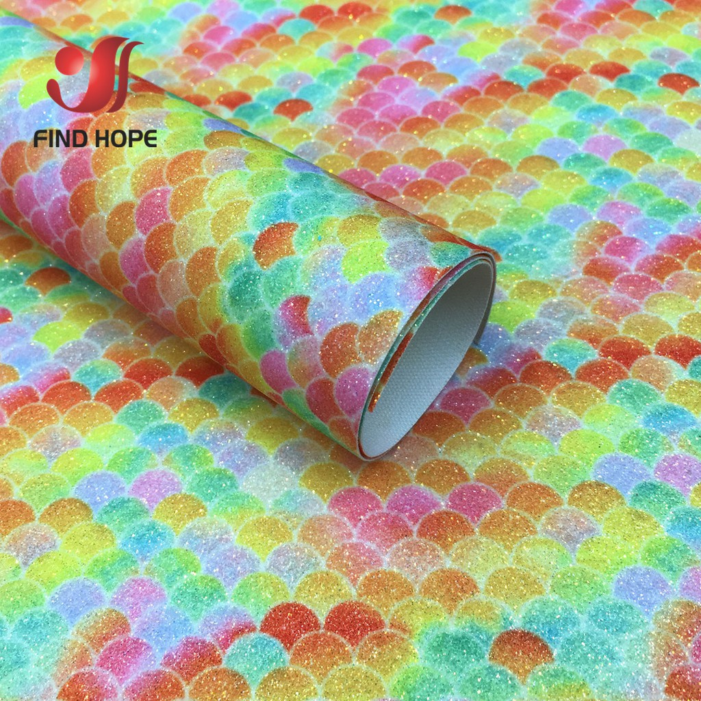 22*30cm Mermaid Animals Printed Synthetic Leather Fabric Sheet For DIY Materials