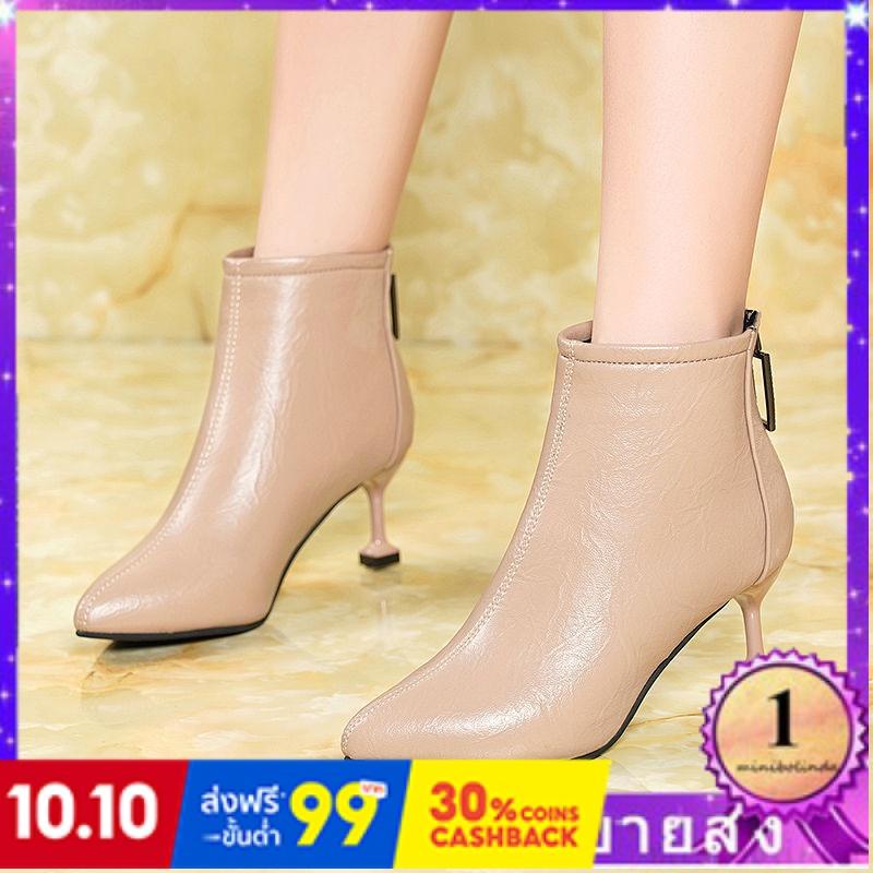 ⭐👠รองเท้าส้นสูง หัวแหลม ส้นเข็ม ใส่สบาย New Fshion รองเท้าคัชชูหัวแหลม  รองเท้าแฟชั่นหนังกริชรองเท้าผู้หญิงกับรองเท้าเดี