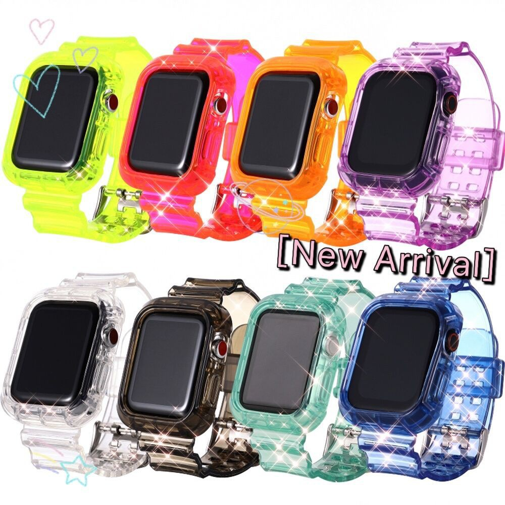 Ready Stock!Apple watch transparent candy jelly strap Neon Glacier watch strap iwatch series 4 5 3 2 1 anti-fall integra