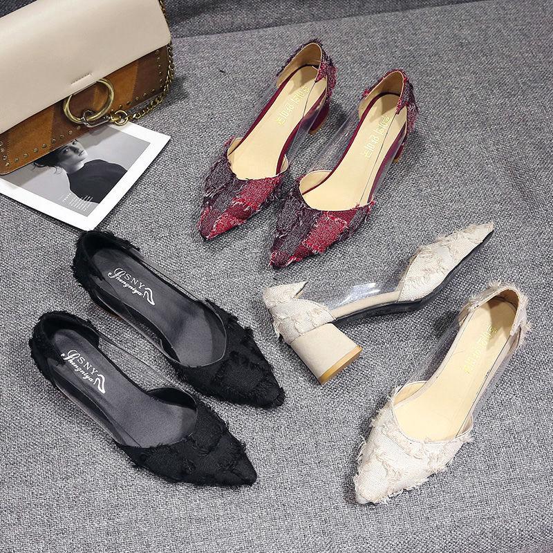 รองเท้าส้นสูงสไตล์เกาหลีผู้หญิงส้นหนารองเท้าคัชชูหัวแหลม