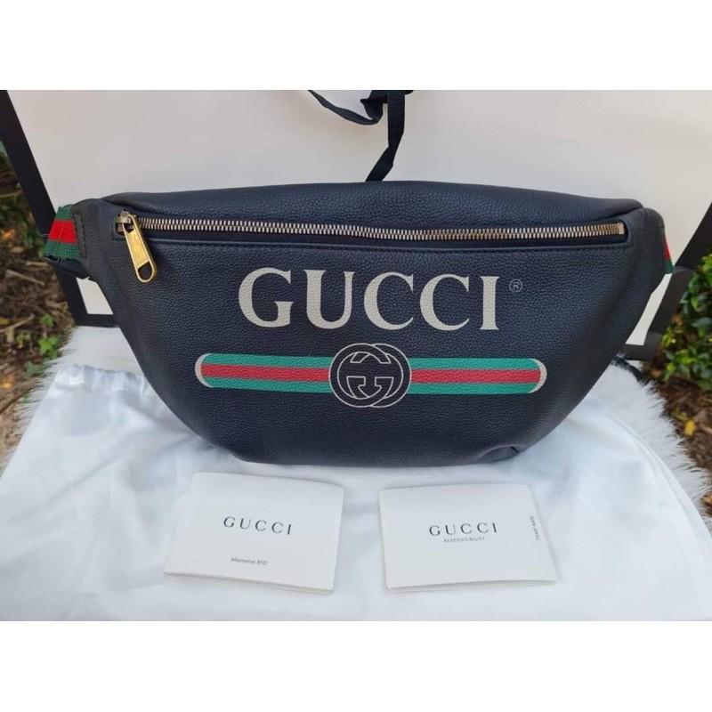 New🤍Gucci belt bag logo print ไซต์ใหญ่ สาย90cm