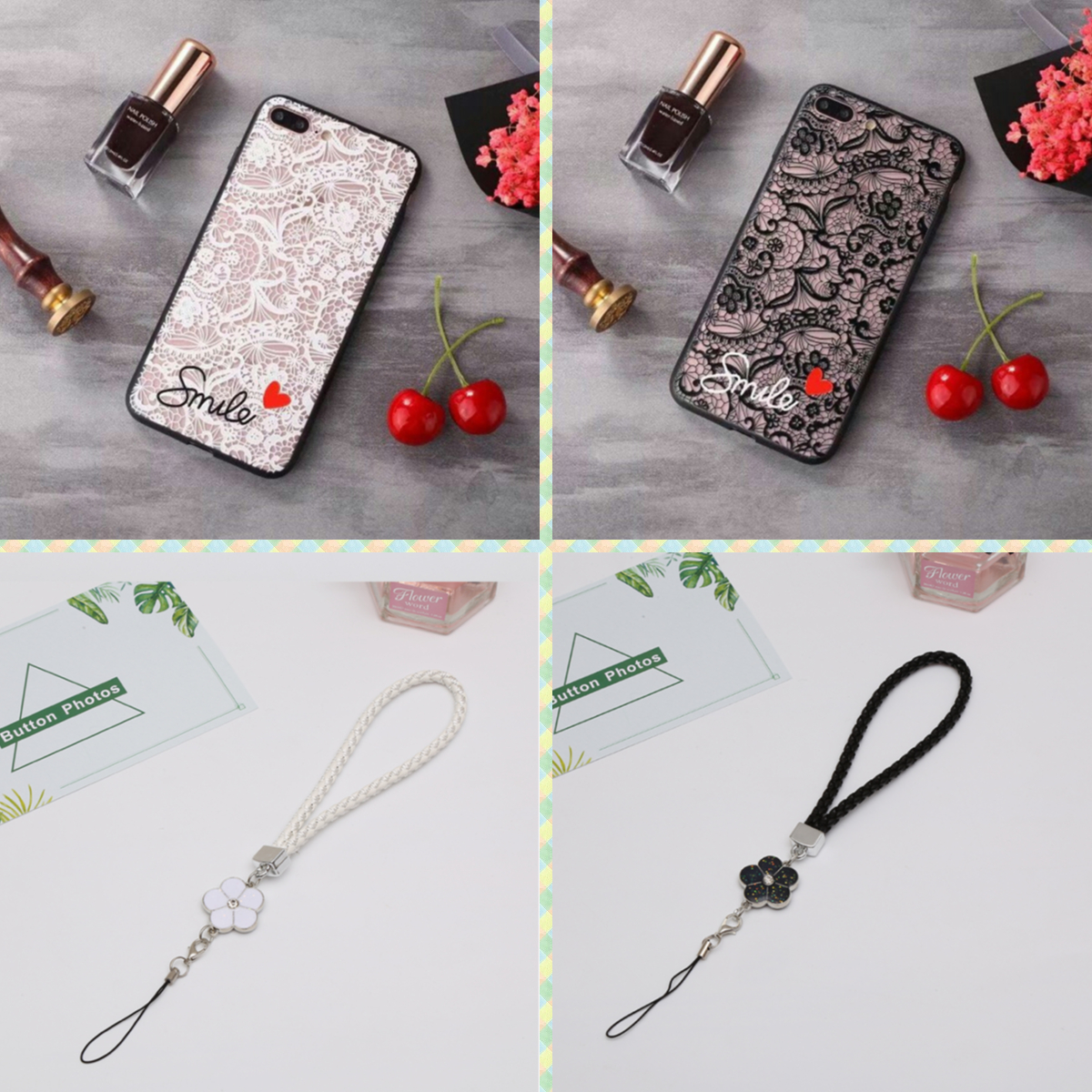 เคส Samsung M31 A31 A9 A7 J8 J7 J6 J6+ J5 J4 J4+ J2 Prime Pro Plus 2018 Ultra-thin and Anti-drop Lace Design Soft Case Cover and Flower Hand Strap