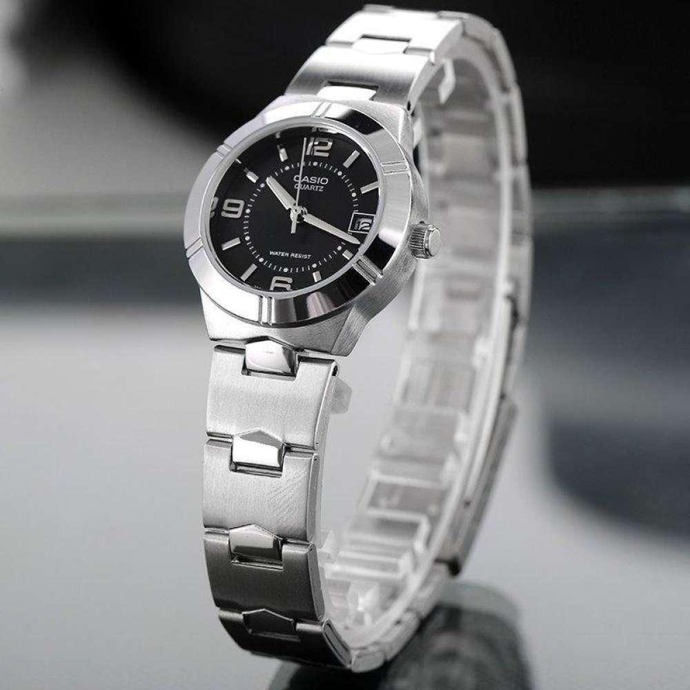 Win Watch Shop Casio รุ่น LTP-1241D-1A นาฬิกาผู้หญิง สายสแตนเลส หน้าปัดดำ (สินค้าขายดี) มั่นใจ สินค้าของแท้ 100% ประกันศ