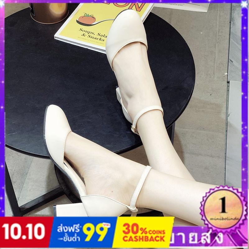 ⭐👠รองเท้าส้นสูง หัวแหลม ส้นเข็ม ใส่สบาย New Fshion รองเท้าคัชชูหัวแหลม  รองเท้าแฟชั่นหัวกลมสีดำหนากับรองเท้าเดียวหญิงปาก
