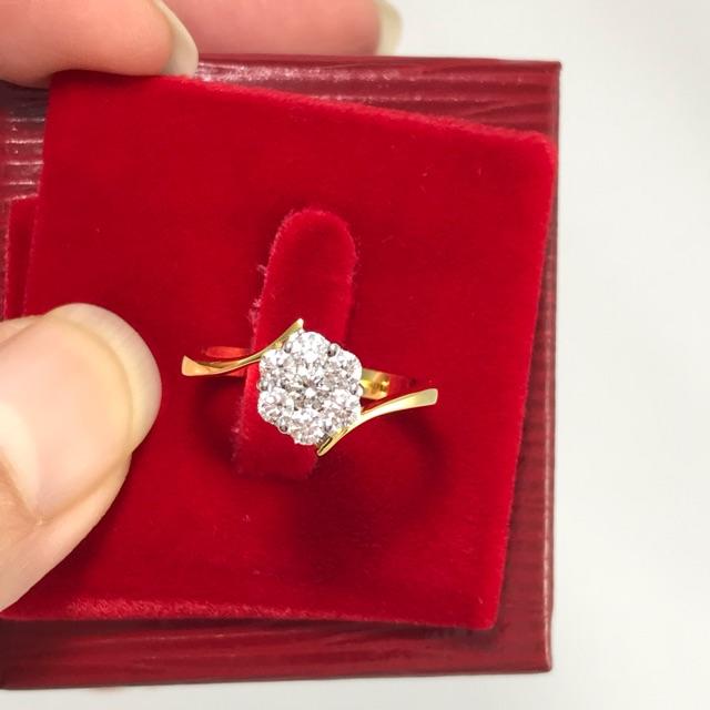 แหวนเพชรแท้ดอกปะกบก้านไข้วเพชรสวยเหลี่ยมดีไฟดีตัวเรือนทอง90%แต่ราคาดี๊ดีจะร้าๆๆ