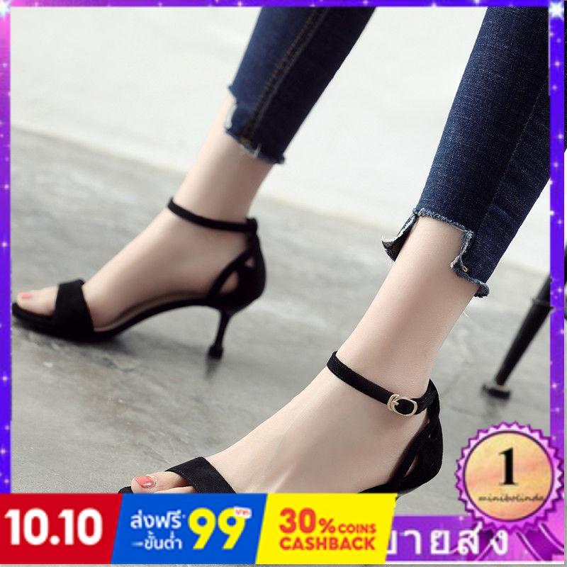 ⭐👠รองเท้าส้นสูง หัวแหลม ส้นเข็ม ใส่สบาย New Fshion รองเท้าคัชชูหัวแหลม  รองเท้าแฟชั่นใหม่สีดำเปิดนิ้วเท้ารองเท้าแตะหญิงค