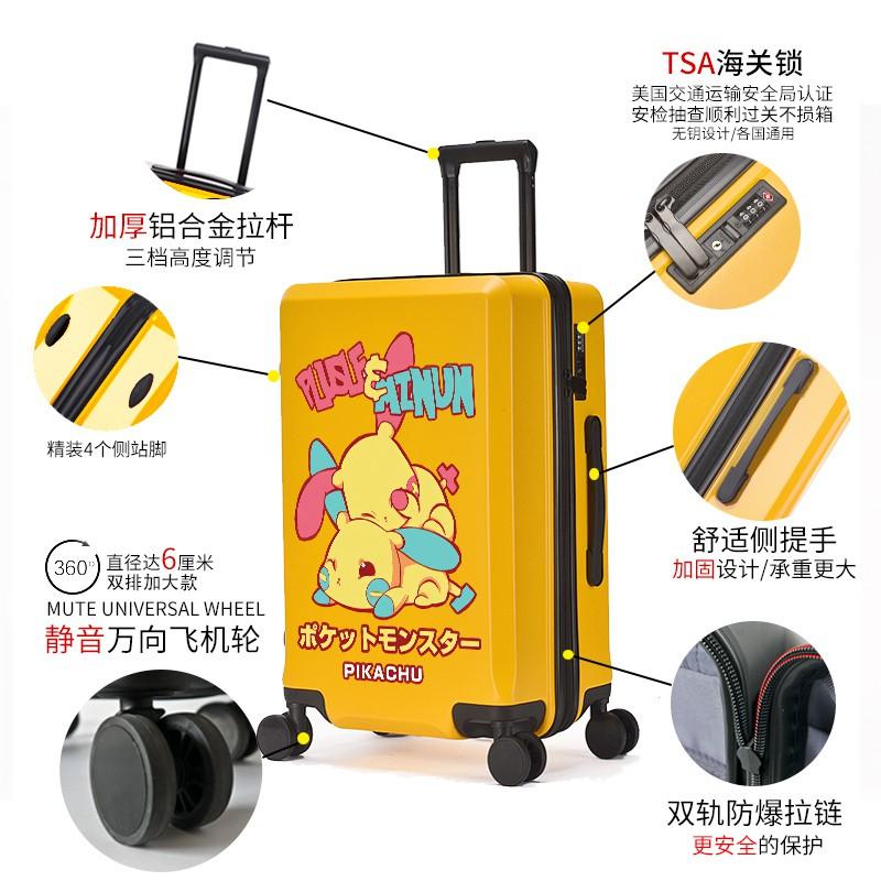 ≠◔กระเป๋าเดินทางเด็ก  กระเป๋ารถเข็นเดินทางกระเป๋าเดินทางเด็ก Pikachu 20 นิ้วกระเป๋าเดินทางการ์ตูนเด็กรถเข็นกรณีนักเรียน