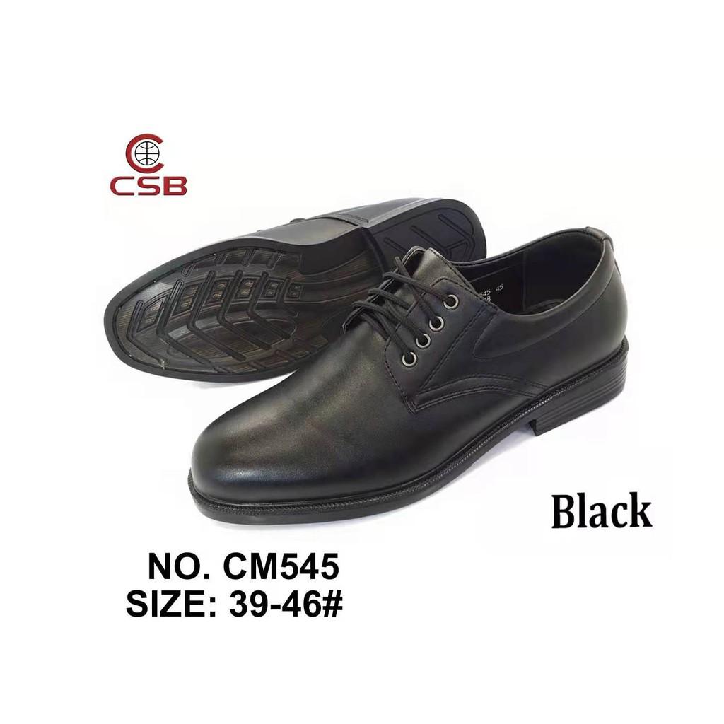 รองเท้าคัชชูผู้ชาย แบบผูกเชือก CSB CM545 ไซส์ 39-46 รองเท้าหนังผูกเชือก เป็นหนังเทียม นิ่ม เพิ่มส้น สีดำ