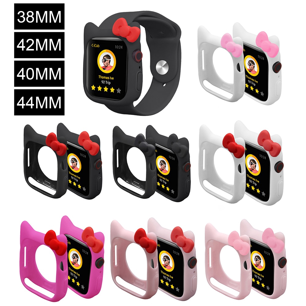 Silicone Soft Case For iWatch Series 1 2 3 4 Cover For Apple Watch 38mm 42m40mm 44mm Cute Kitty Ears case
