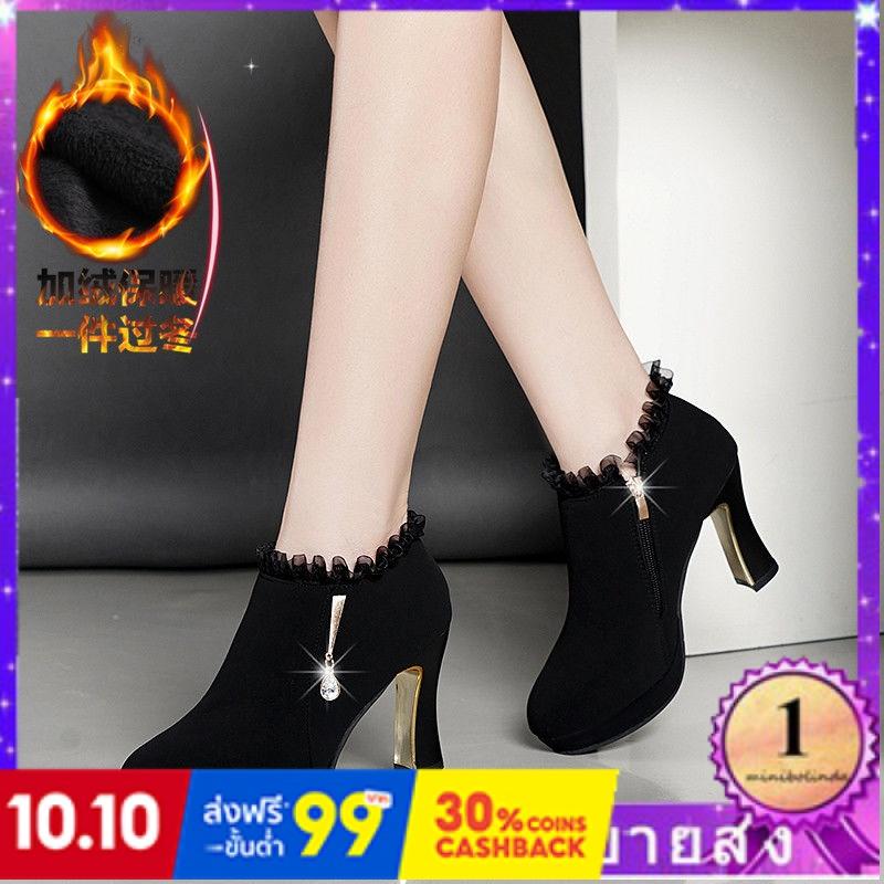 ⭐👠รองเท้าส้นสูง หัวแหลม ส้นเข็ม ใส่สบาย New Fshion รองเท้าคัชชูหัวแหลม  รองเท้าแฟชั่นรองเท้าส้นสูงของผู้หญิงแพลตฟอร์มกัน