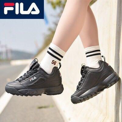 นองใหม่ FILA Disruptor II สีดำ แท้ 💯% รองเท้าผ้าใบสตรีวิ่งรองเท้า fila รองเท้าสต