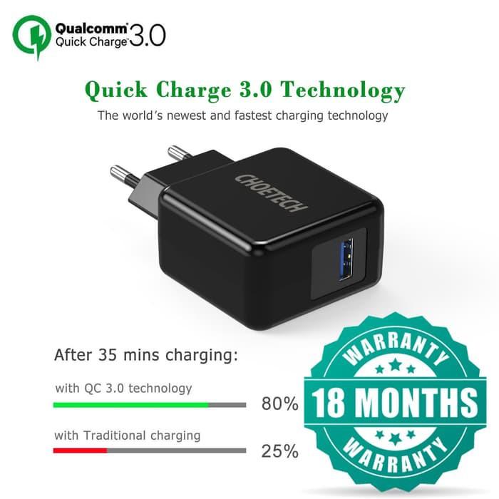 Choetech อะแดปเตอร์ชาร์จไฟ 18W Qc 3.0 สําหรับ Samsung Iphone Oppo Vivo