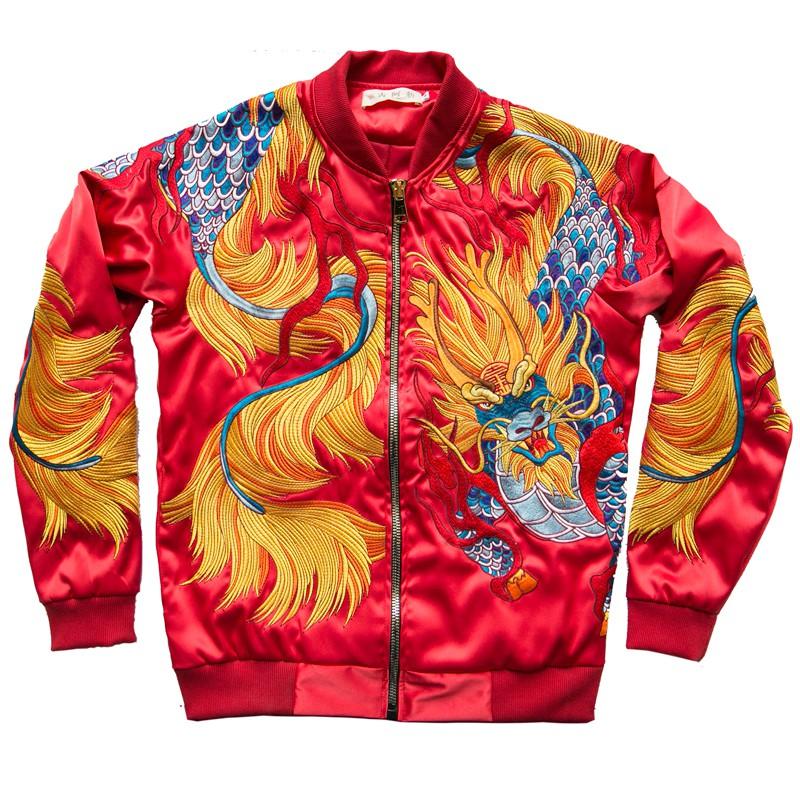 SUKAJAN พร้อมส่ง  แบรนด์แท้ Baylor House Chinese   /  Japanese Souvenir Jacket  แจ็คเกตซูกาจันลาย  GOLDEN DRAGON WARRIOR