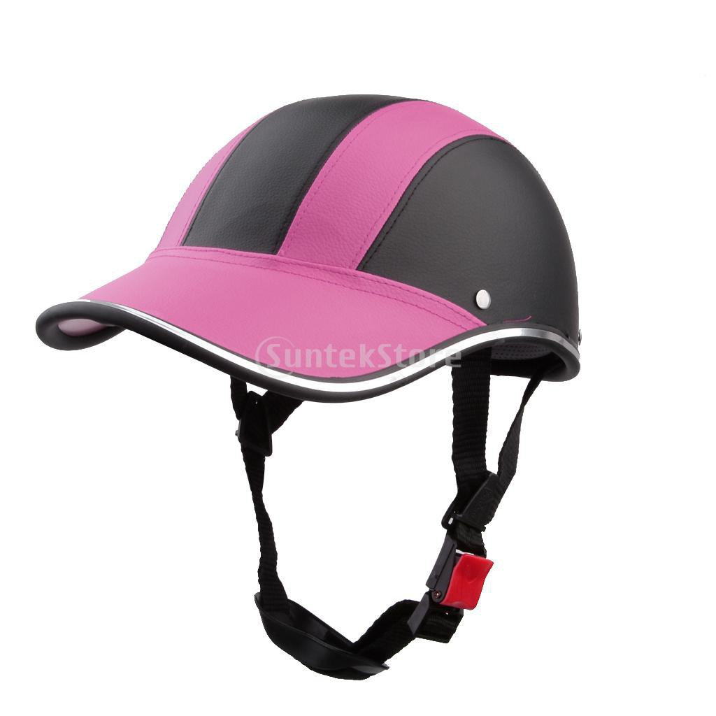 หมวกกันน็อกเปิดครึ่งหน้า หนังPU สีชมพู สำหรับจักรยานยนต์