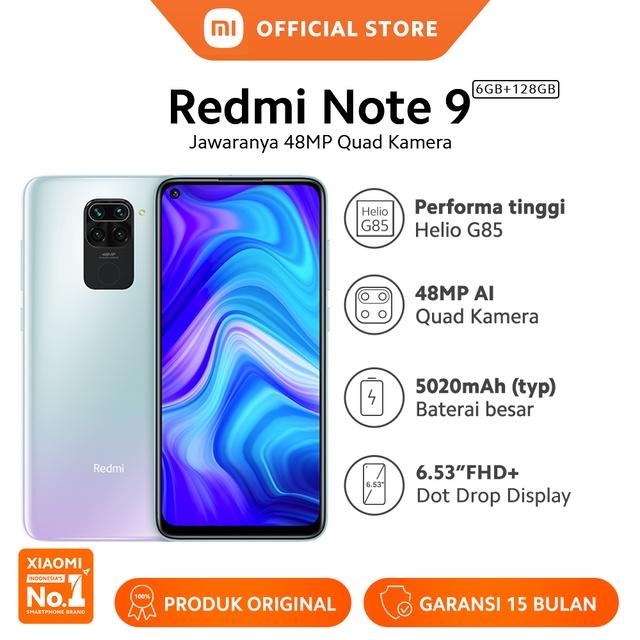 "Xiaomi Redmi Note 9 (6GB+128GB) 48MP Quad Kamera Helio G85 6.53"" FHD+ 5020mAh Garansi"