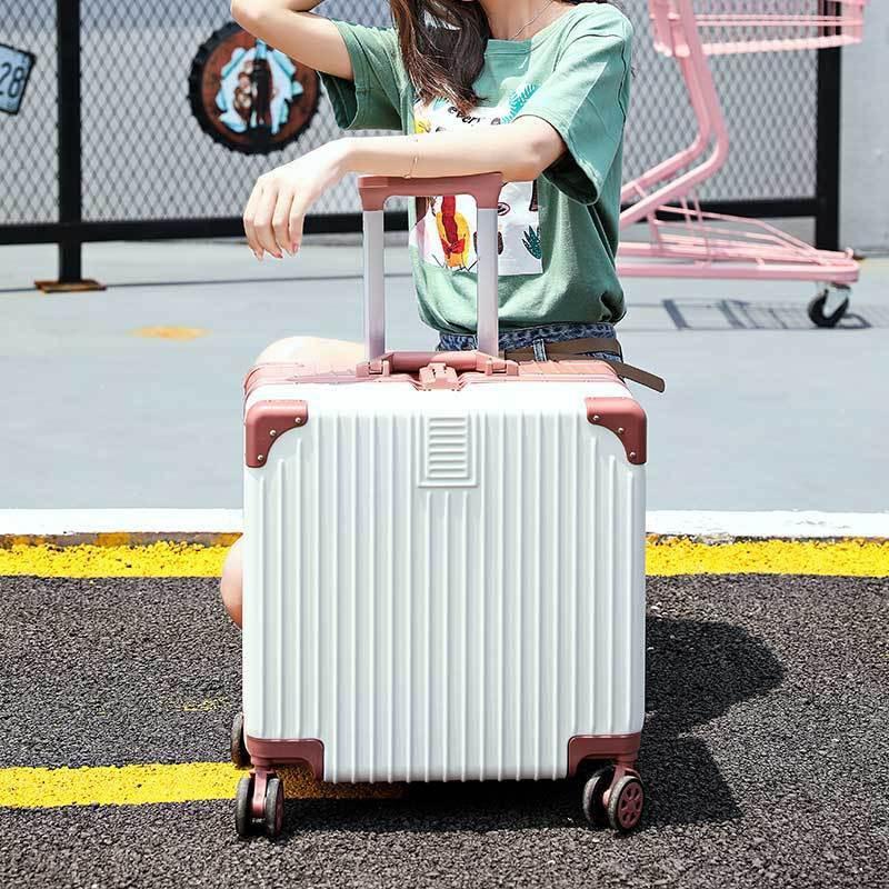 ✧> กล่องอลูมิเนียมกระเป๋าสัมภาระขนาดเล็กหญิง 18 นิ้วมินิตัวถังรถเข็นกล่อง Crypto น่ารัก 20 ทรัมเป็ตทางไกลกล่องเดินทาง