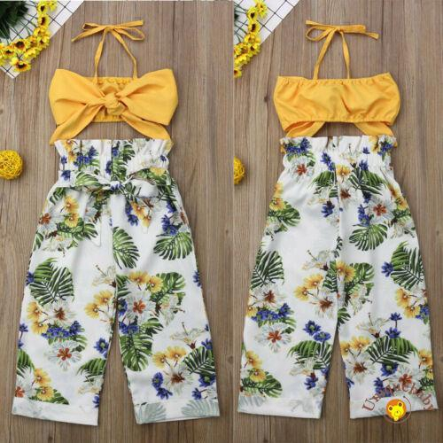 ☀UniToddler Kids Girls Stripe Floral Crop Tops Pants Headband Outfits Clothes