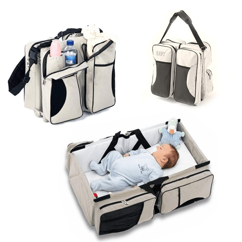2 in 1 แบบพกพาเตียงเด็ก mummy กระเป๋าพับแบบพกพาทารกเตียงเด็กทารกแรกเกิดการเดินทางเตียง